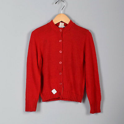 1950s Girls Red Button Up Sweater Knit Long Sleeve Cardigan 50s Vintage