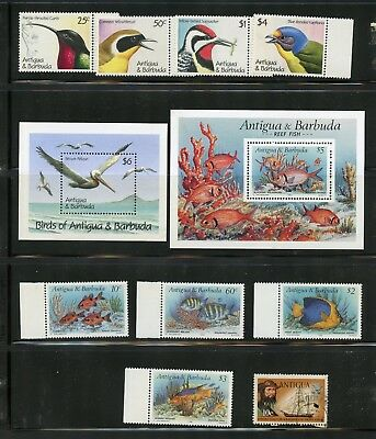 ANTIGUA & BARBUDA--Lot of 11 different stamps and souvenir sheets