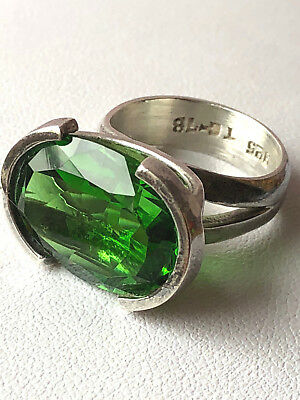 Large Vintage Taxco Mexico Tourmaline Green Color Glass Crystal Ring 925Sterling