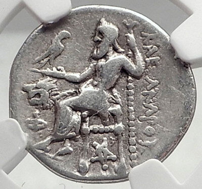 LYSIMACHOS Typeof ALEXANDER III the GREAT Silver Greek Coin PENTAGRAM NGC i73041