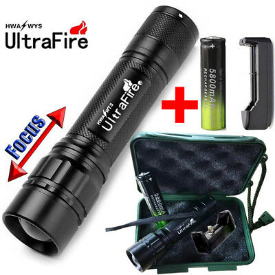 20000LM Flashlight Zoomable 3Mode Tactical T6LED Torch+Charger+Case+18650battery