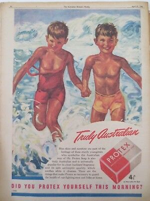 Vintage Australian advertising 1945 ad PROTEX SOAP children beach art