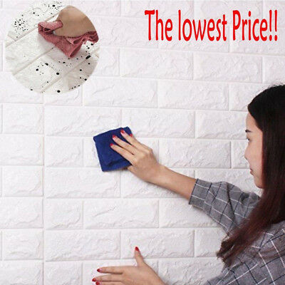 PE Foam 3D Self Adhesive DIY Panels Wall Stickers Home Decor Embossed Brick JT