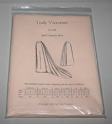 Truly Victorian TV298 1892 Umbrella Skirt 3 Lengths Costume Pattern 0-26 New