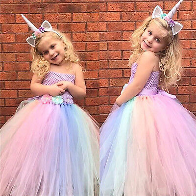 Girls Kids Flower Unicorn Costume Princess Dress Tulle Tutu Gown Headband Outfit