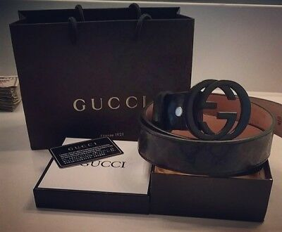 ca95351300d Authentic Mens Black Gucci Belt With Gucci box