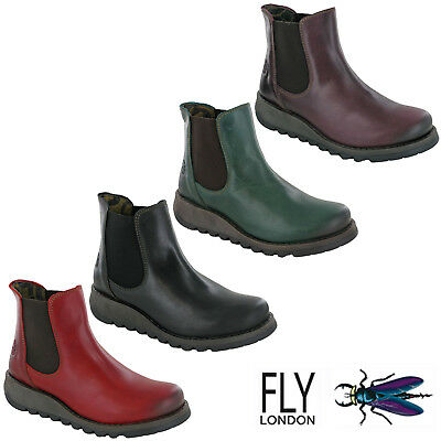 Fly London Dealer Boots Womens Ankle Leather Chelsea Riding Slip On Wedge UK 4-8