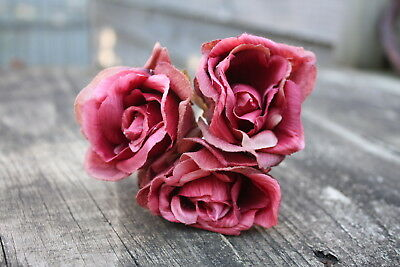 3 x VINTAGE DUSKY WINE RED SILK ROSES 6cm WIRED STEMS