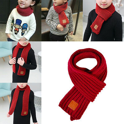 New Baby Winter Solid Color Scarf Warm Knitting Wool Scarf Winter Throat Warmer