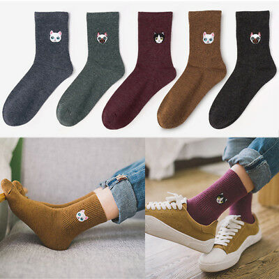Embroidery animal Cartoon Dog cat Thick Socks Threaded Cotton Funny Pattern