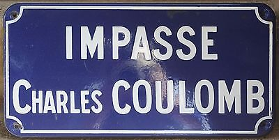 Old French enamel street sign road plaque Charles Coulomb scientist Chartres