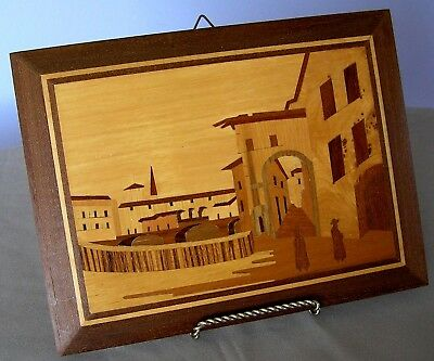 "Vtg  Italian Inlaid Marquetry Wood Wall Hanging Plaque 8.5' X 9.5"" W/ Papers"