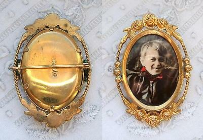 Goldener Anstecker - Brosche - Mit Photo - Portrait - Junge - Double