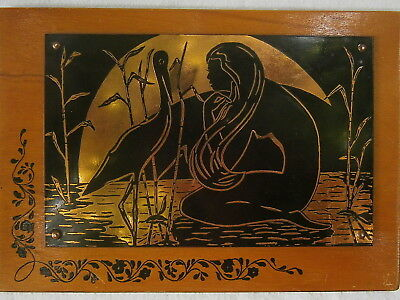 Lovely Nude Lady Girl Woman Stork Crane Bird Painting Wood Metal Copper Picture
