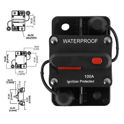 12V/ 24V 30A-100A AMP Circuit Breaker Dual Battery Manual Reset Waterproof Fuse