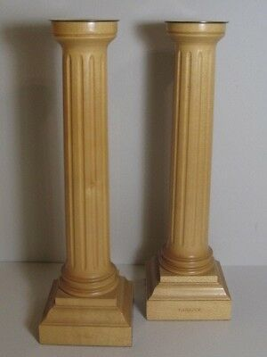 DAVID LINLEY Fluted Wooden Column Pair Candlesticks / Candles Holders Signed