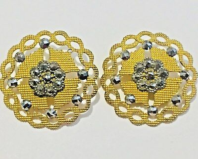 Gorgeous Pair of Antique Gilt Buttons with Steels - Scalloped & PIerced