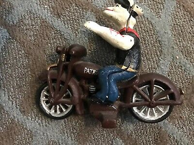 Vintage Cast Iron Popeye The Sailor On Motorcycle /GVC