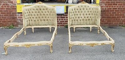 Pair Antique French Louis XV Style Gilt Painted Tufted Upholstered Twin Beds