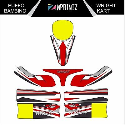 Puffo Bambino Wright Style Full Kart Sticker Kit - Karting - Evk-Cadet-Rookie