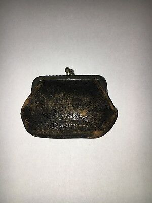 Vintage Leather Coin Purse Double Kiss Lock Clasp black