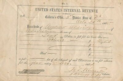 United States Internal Revenue Receipt Charles Town W.va 1865