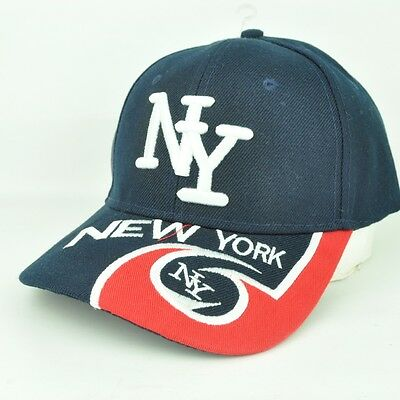 5555b370fe5 New York City NY USA Navy Blue Red White Flames Adjustable Hat Cap Curved  Bill