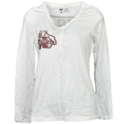 NCAA Mississippi State Bulldogs Blanc Femmes Manches Longues T-Shirt Bouton