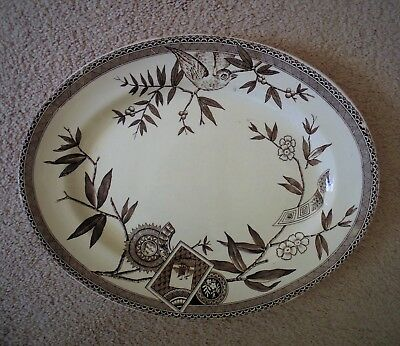 "19c Wedgwood ""Louise"" Victorian Platter Aesthetic Brown & White Transferware"