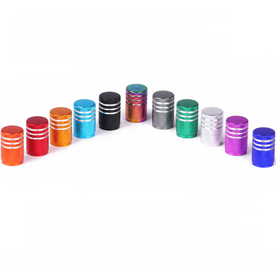 Many color Anodized Aluminum Round Tire Valve Stem Caps 4PCS For Car & Bike