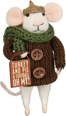 Primitive Country Folk-Art Turkey And Pie Thanksgiving Felted Wool Mouse