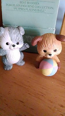 1992 PUPPIES PLAYING BALL PORCELAIN Pair FIGURINES Avon Collectibles NEW IN BOX