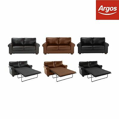 Argos Home Salisbury Leather Metal Action Sofa Bed - Black / Tan / Brown