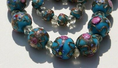 Antique Art Deco Wedding Cake Venetian Necklace. Beads Blue With Gold & Roses.