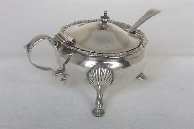A Large Sterling Silver Mustard Pot With Liner & Associated Spoon Chester 1934.