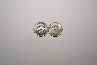 2 DIFFERENT 5 KRONUR COINS w/ DOLPHINS from ICELAND DATING 1996 & 2007