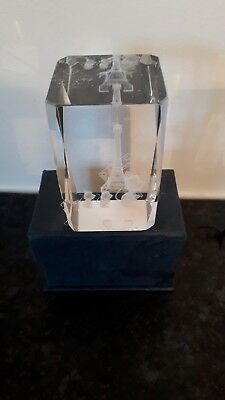 "3D Laser Etched Crystal Glass Eiffel Tower Paris, France Cuboid 3"" Paper Weight"