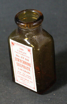 Antique Pharmacy Apothecary United Drug Strychnine Sulphate Poison Pill Bottle
