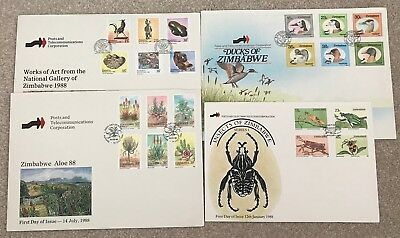 Zimbabwe 1988 4 FIrst Day Covers from 1988