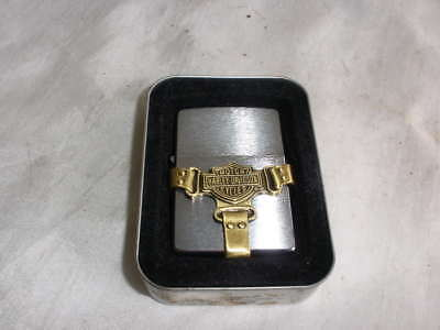 UNUSED Zippo Lighter Harley Davidson Bootstrap Brushed Chrome