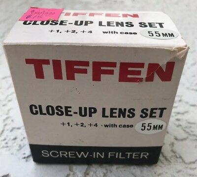 Tiffen 55mm kit  Filters macro close-up lens set +1 +2 +4 with case camera