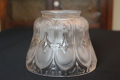 "Antique Vintage Frosted Glass Gas/oil Lamp Light Shade Floral (3-1/2"" Fitter)"