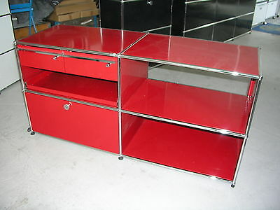 USM Haller Regal 152/76/52, rot, links, MwSt