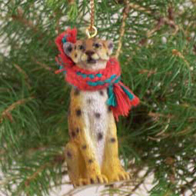 CHEETAH with Scarf Tiny One Miniature Christmas ORNAMENT