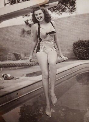 WW2 Photo WWII  Actress Barbara Hale in Bathing Suit World War Two Pinup  / 8045