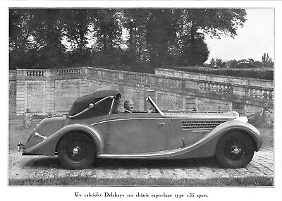 *** Cabriolet Delahaye type 135 Sport *** 1936 - photogravure (22 x 16) // a321