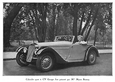 *** Cabriolet sport 6 CV Georges Irat *** 1937 - photo (22 x 15,5) // a146