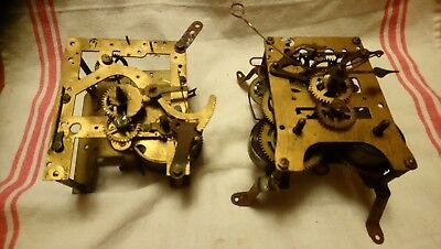 Two Vintage Clock Movements For Spares Or Repairs