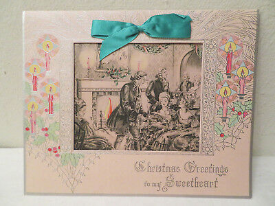 Antique Vtg Victorian Christmas Sweetheart Holiday Greeting Card Extra Large