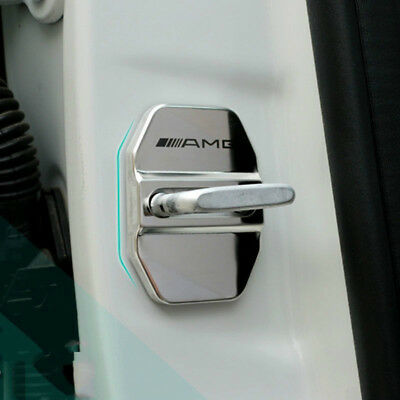 AMG Silver Car Door Lock Emblem Cover Caps Sticker Badge For Mercedes Benz 4x